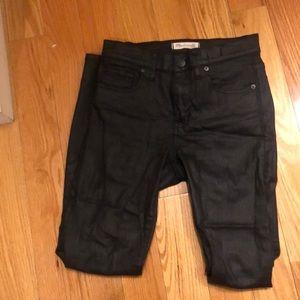 Madewell high riser skinny black coated jeans
